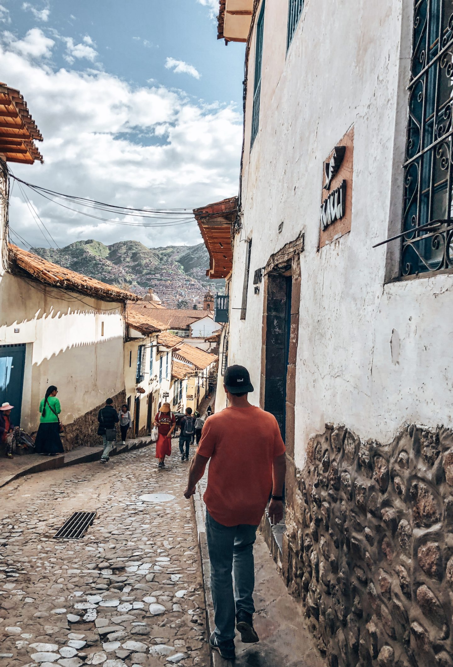 Walking the beautiful, and extremely hilly side streets of Cusco.