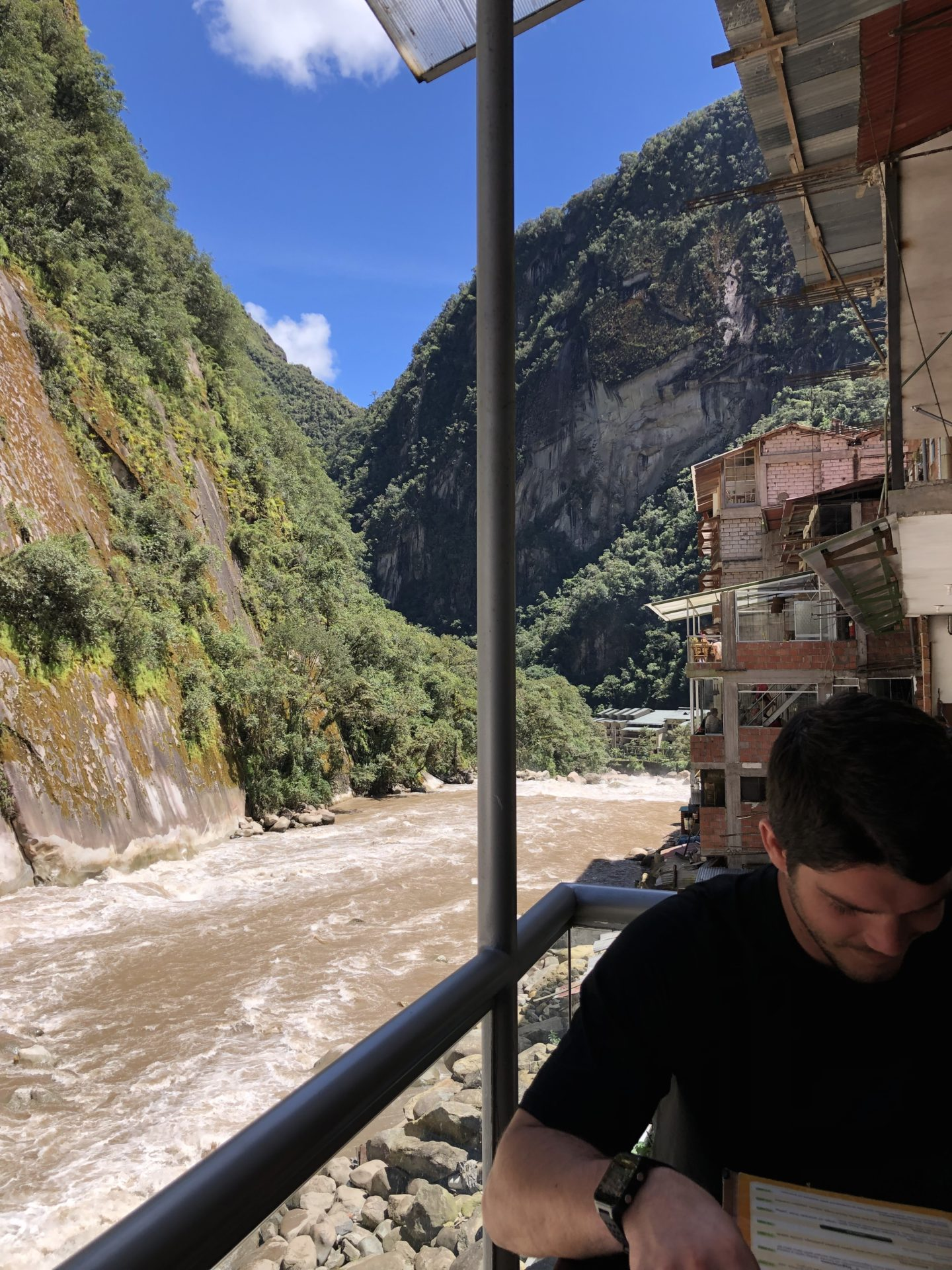 Peru, you are so beautiful! Enjoying a Peruvian lunch along the riverside at the base of Machu Picchu after 4 days of hiking.