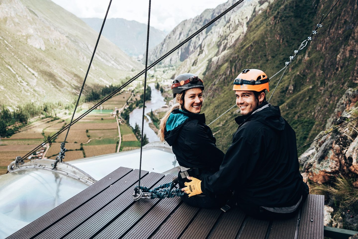 Sitting on the very edge of our Skylodge adventure suite in the Sacred Valley of Peru