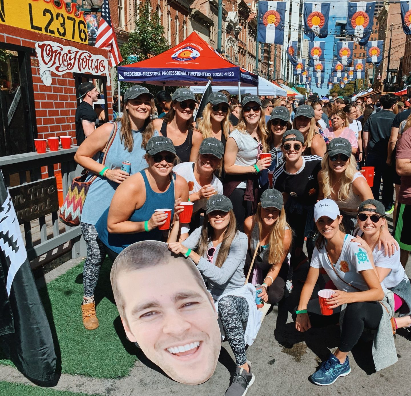 Enjoying the Denver Chili Festival downtown with the bachelorette group