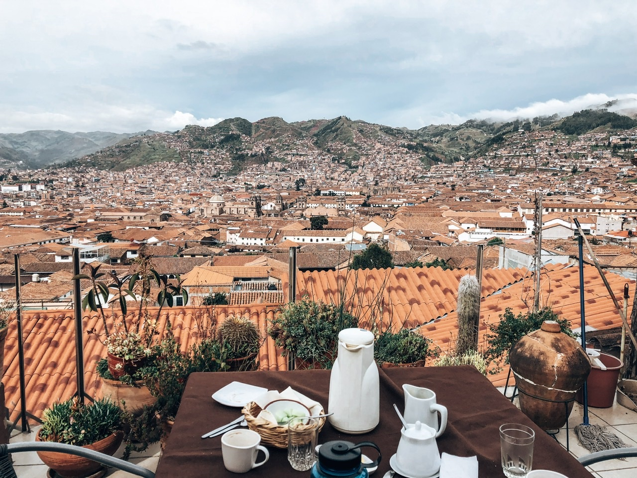Views overlooking the city of Cusco from our final night at our airbnb in Peru