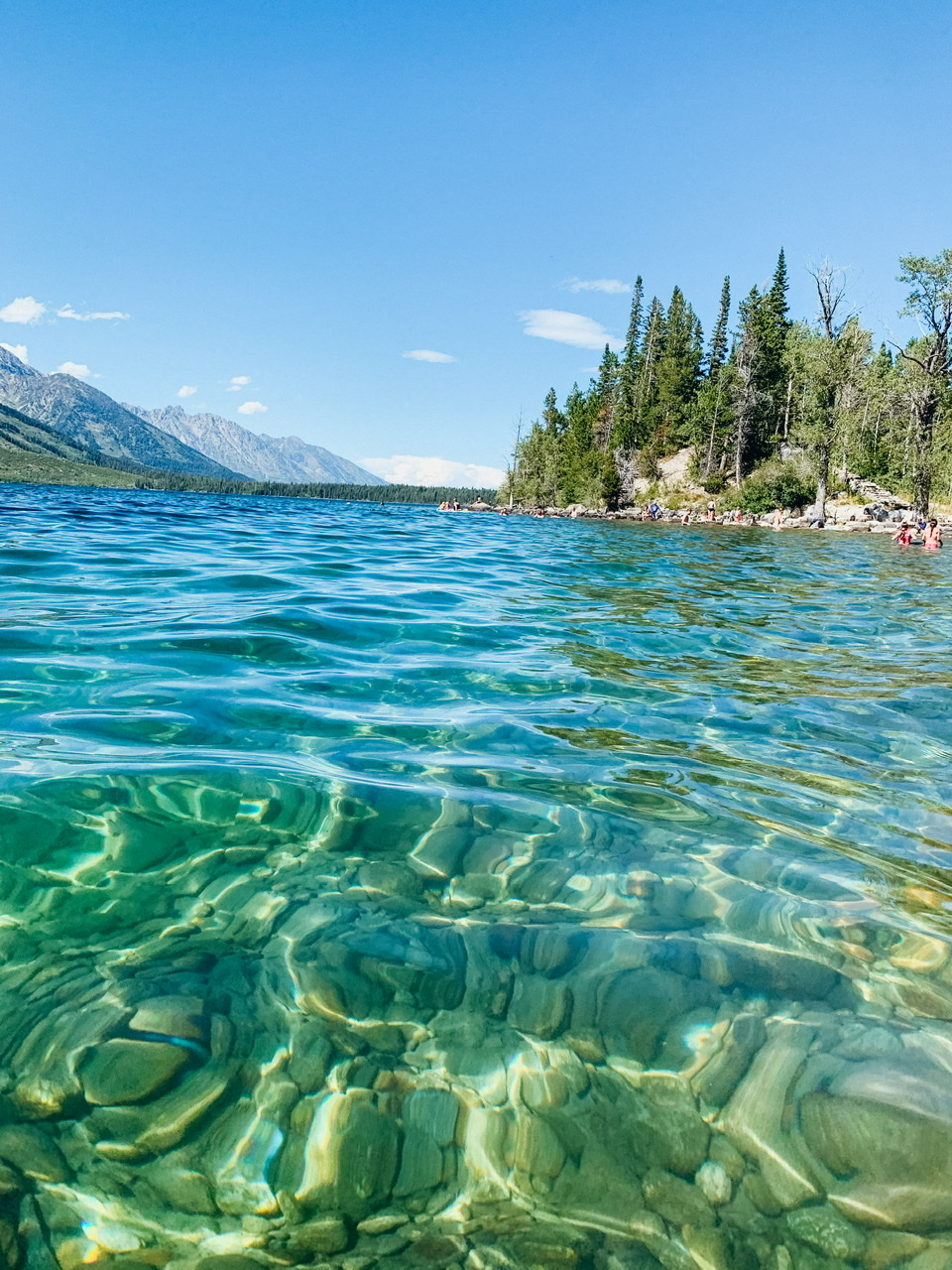 Crystal clear water while swimming in Jenny Lake in Teton National Park