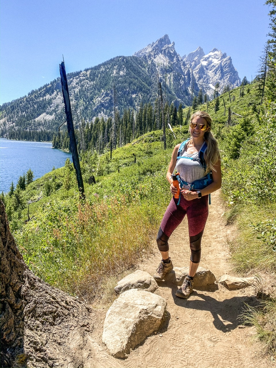 Hiking the 7.5 mile loop at Jenny Lake in the Tetons about 30 - 40  minutes outside of Jackson Hole Wyoming