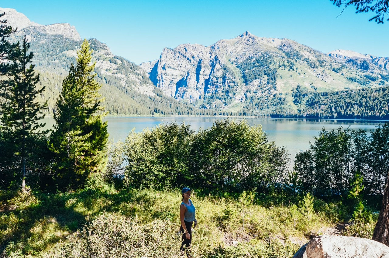 Views after hiking 2 miles to Phelps Lake in Tetons National Park
