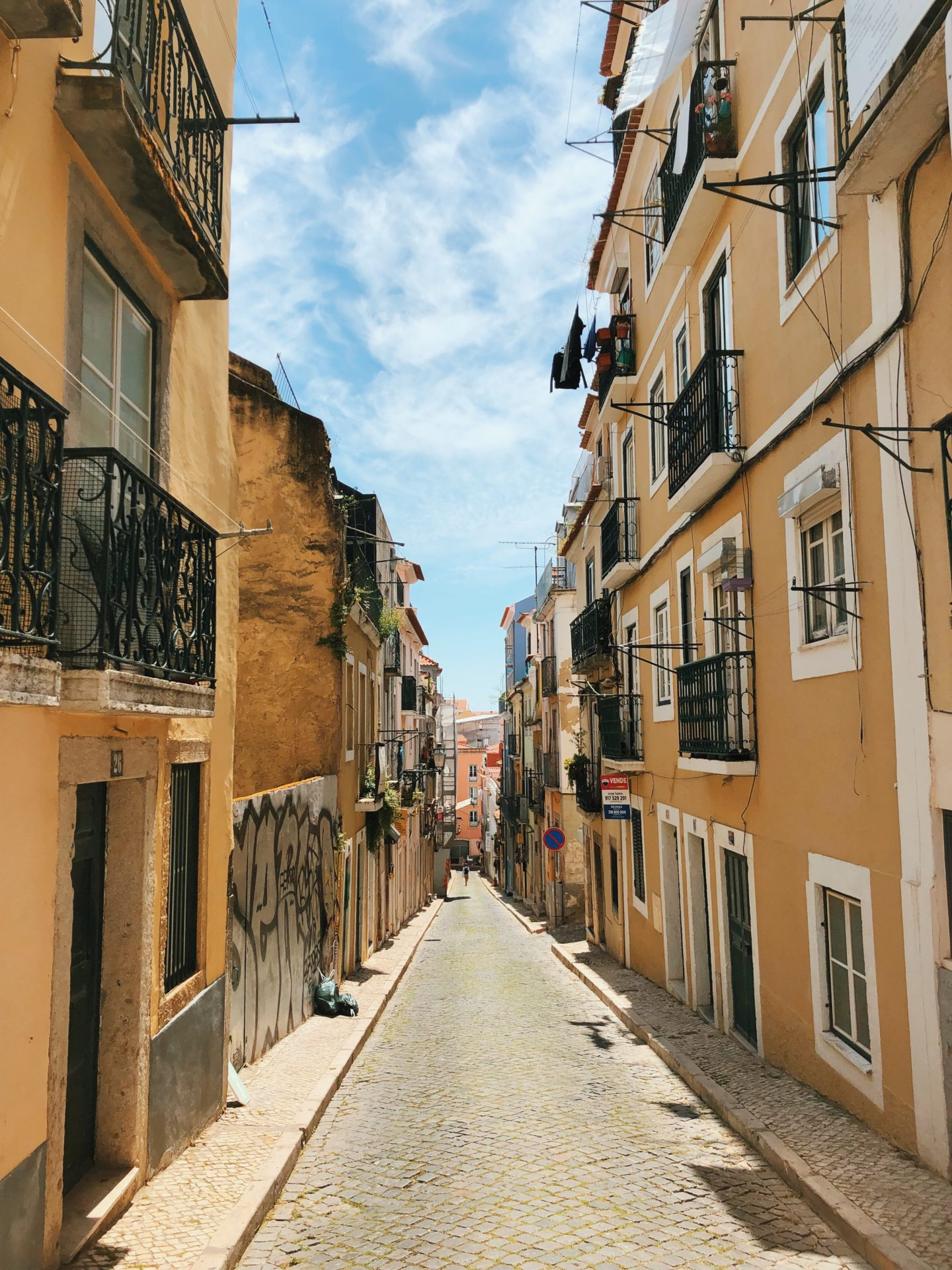 Charming and quiet side streets and alleyways as we explored Lisbon Portugal