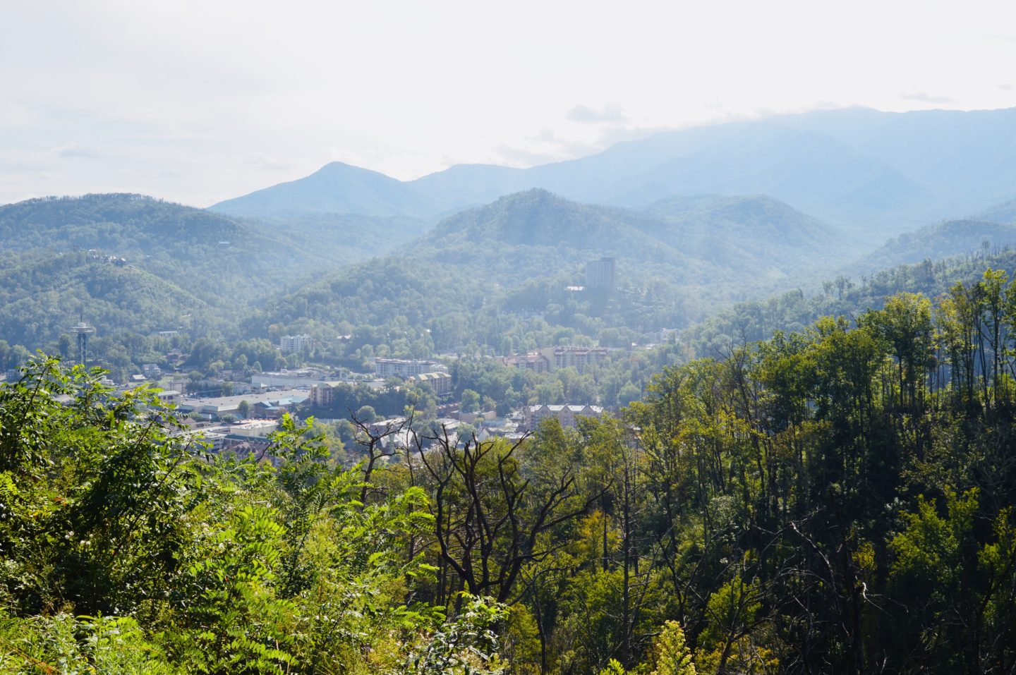 Views overlooking the town of Gatlinburg in the Smokey Mountains