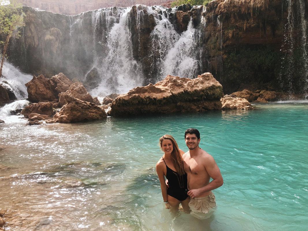 Swimming near Havasupai Falls in the turquoise waters of Arizona