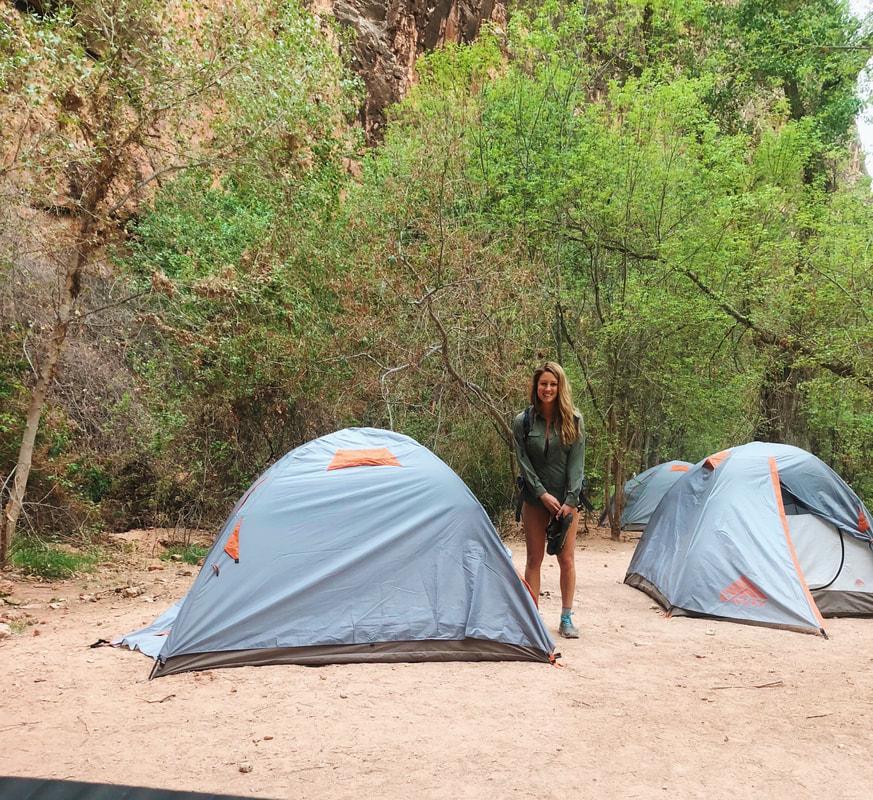 Campsite and tent set up at Havasu Falls