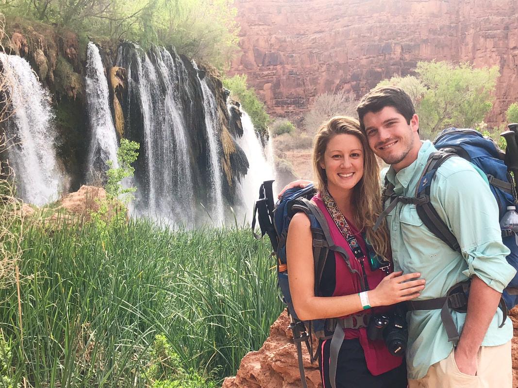 Navajo Falls beautiful waterfalls along the hike