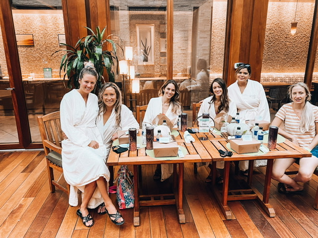 "Spa day and ""S'party"" with the girls during our lunch brunch"