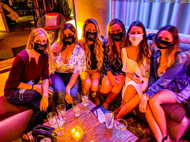 Relaxing with masks during COVID at the W Hotel in downtown Scottsdale on a bachelorette party weekend.