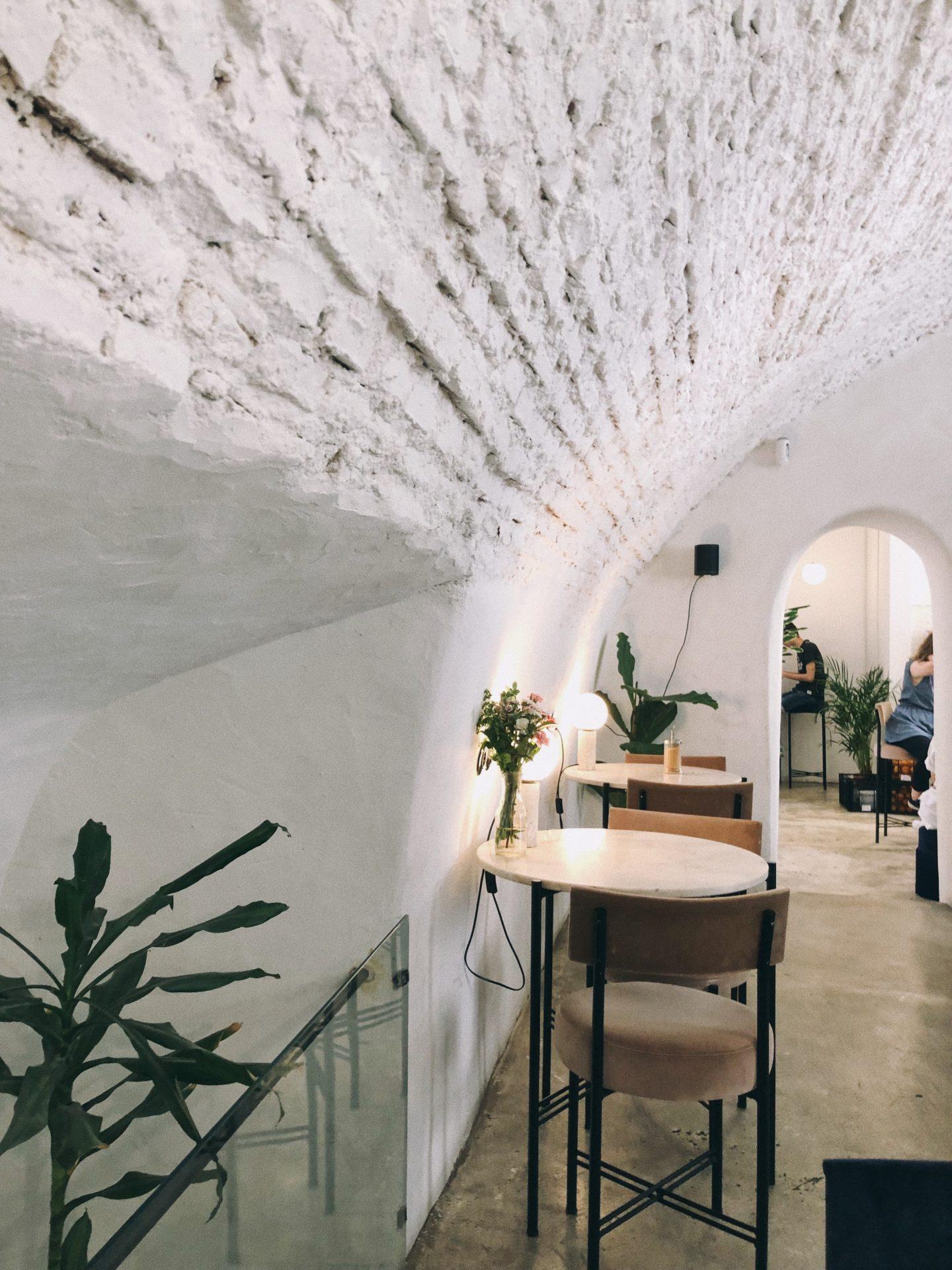 "All white esthetics at this trendy breakfast restaurant in Lisbon Portugal called  "" Dear Breakfast """