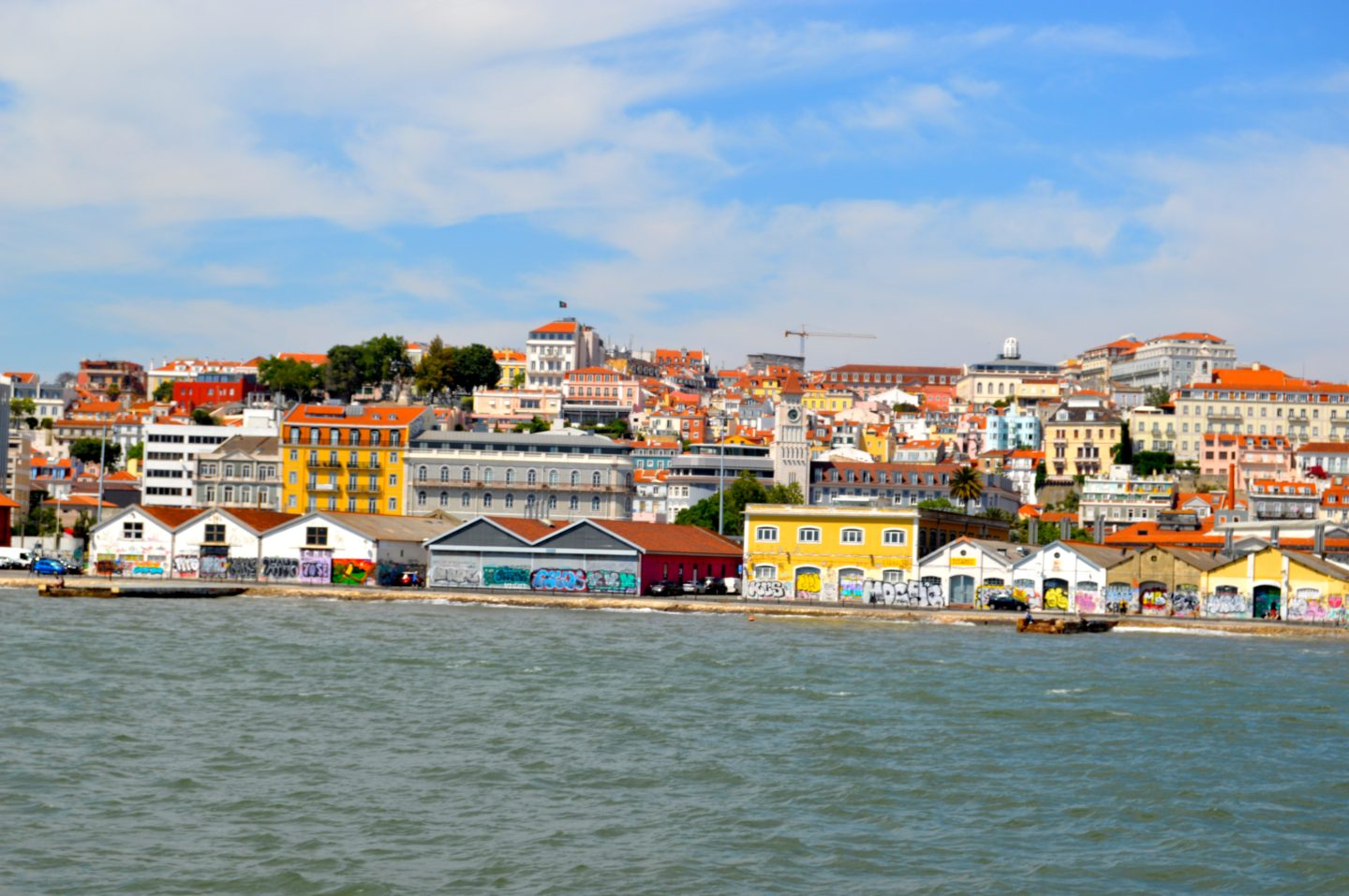 Views looking in at the city of Lisbon from the ferry
