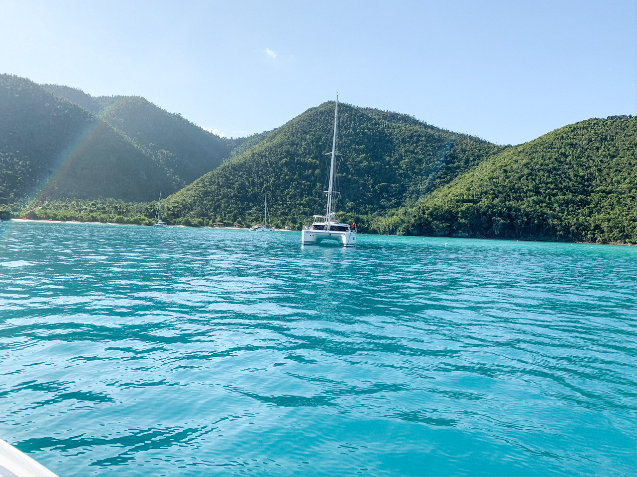 Beautiful island views of St. John; another gorgeous US Virgin Island on our charter boat day