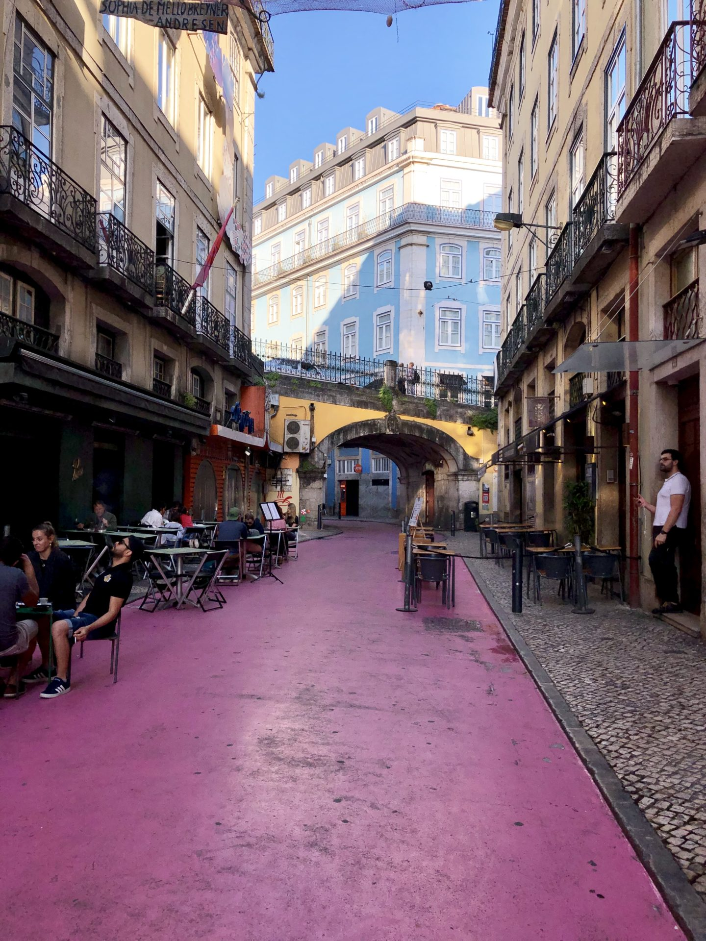 the famous pink street of Lisbon portugal