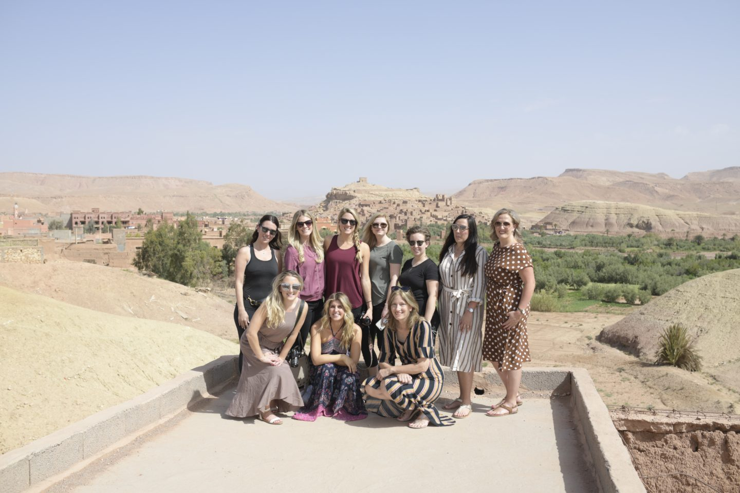 We are Travel Girls gathered after ATVing around Ben Ait Haddou in Morocco at the start of our We are travel girls getaway