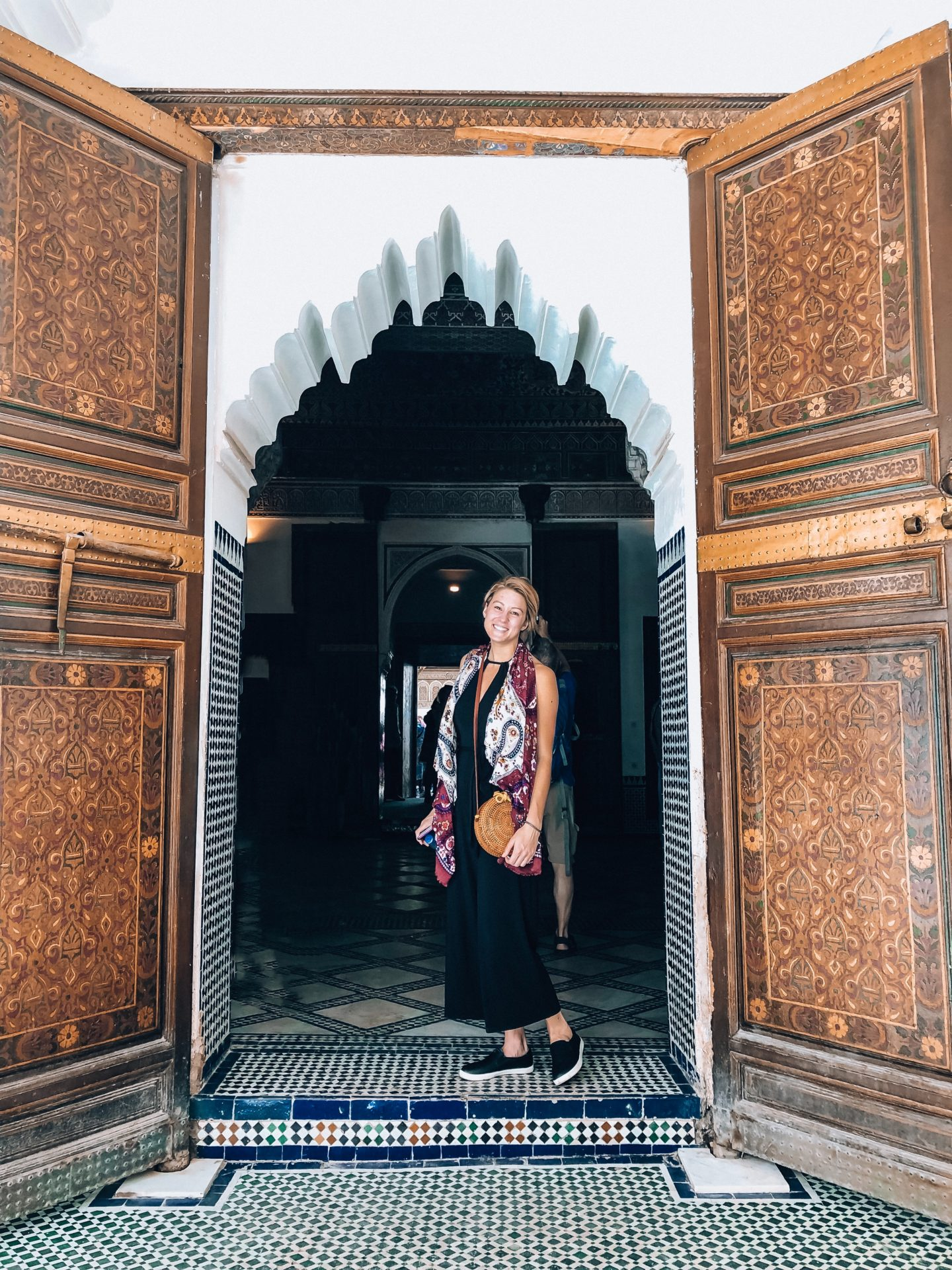 Wandering the colorful and intricate hallways of Bahia Palace in Marrakech