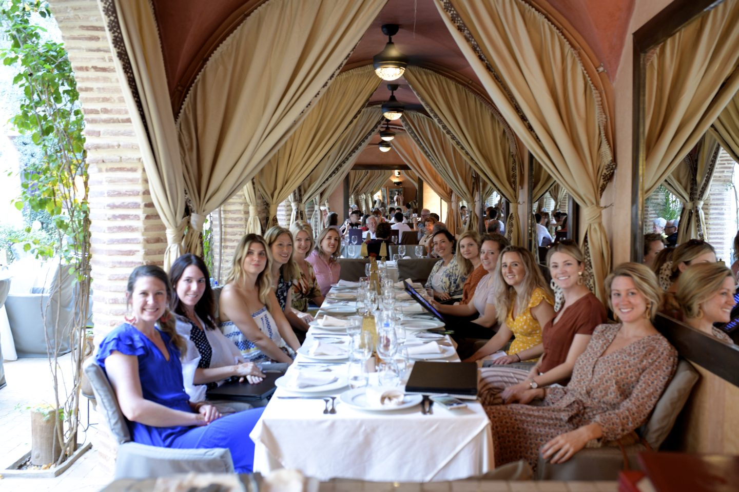 All of the We are Travel Girls ladies gathered for a final dinner at Maison Arabe in Marrakech.