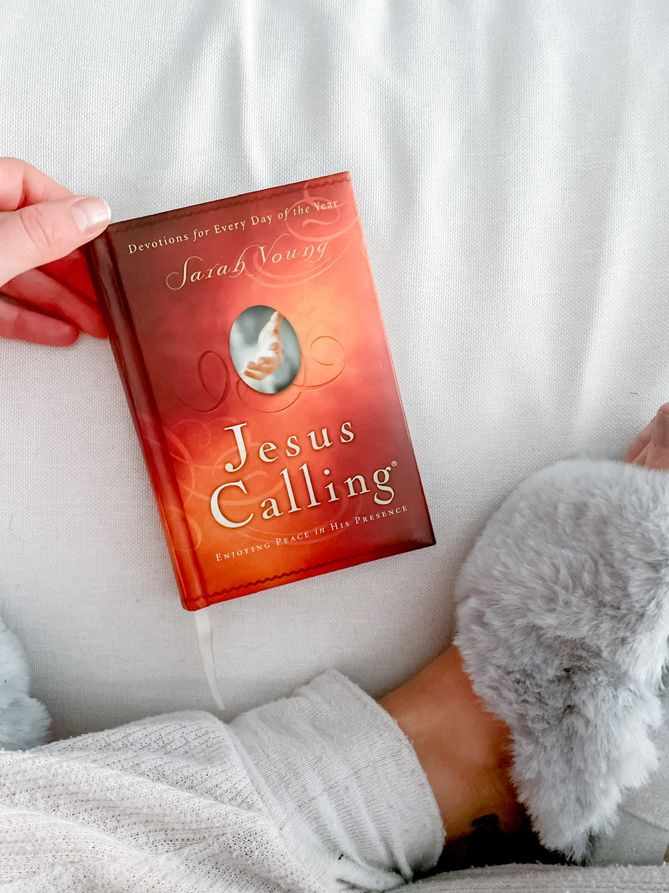 Self-care with my daily morning ritual of my Jesus Calling devotional and meditation.