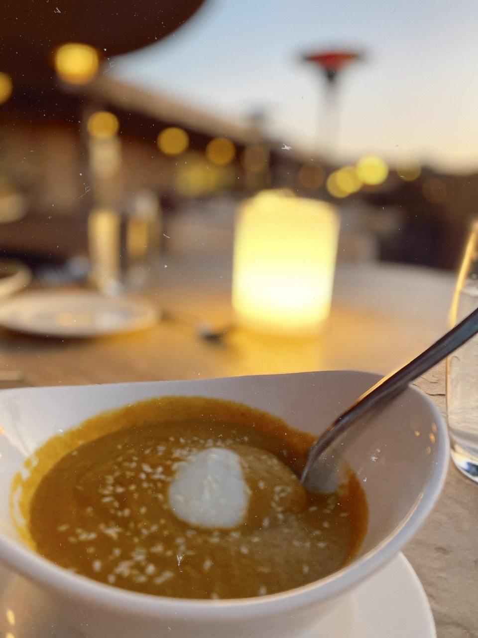 Butternut squash soup at Terras restaurant at Civana Wellness resort on the outdoor patio