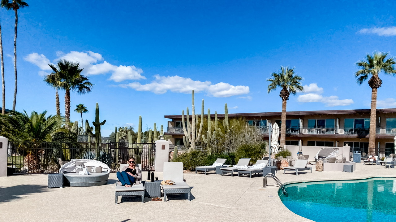 The most perfect poolside set up in desert paradise! Sitting right out back at Civana Wellness Resort enjoying the sunshine and relaxation.