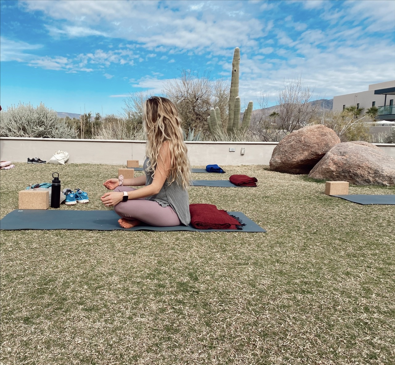 Can you say ZEN? Enjoying a mid-day yin yoga session outside on the yoga lawn at Civana Wellness Resort complete with calming meditative music, blankets and blocks.