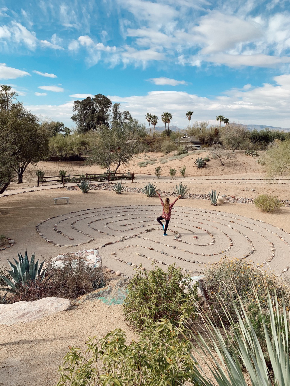 Hanging out in the 'labyrinth' at Civana Wellness Resort!