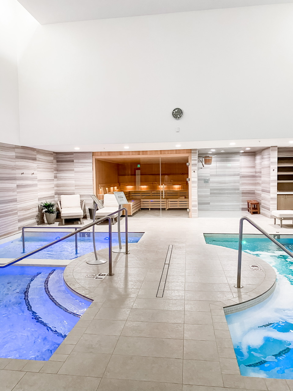 The hot and cold pools inside of the spa at Civana Wellness Resort in Carefree, Arizona.