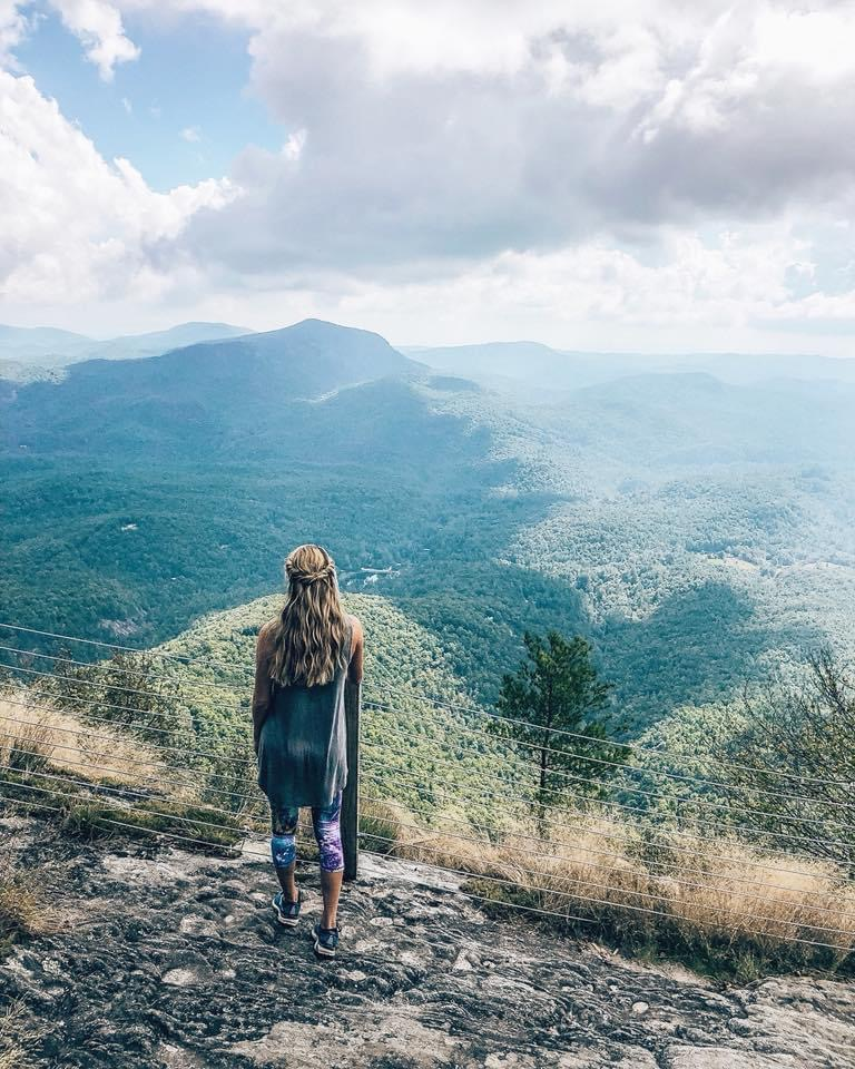 Hiking Whiteside Mountain near Cashiers NC.