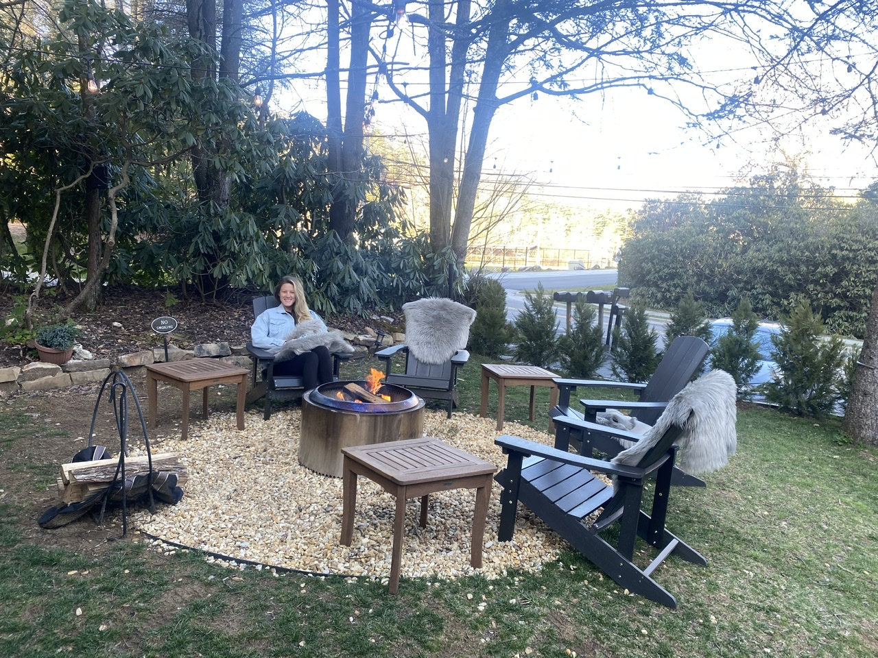 Hanging out by the Solo Stove fire pit at boutique Wells Hotel on the outskirts of town.