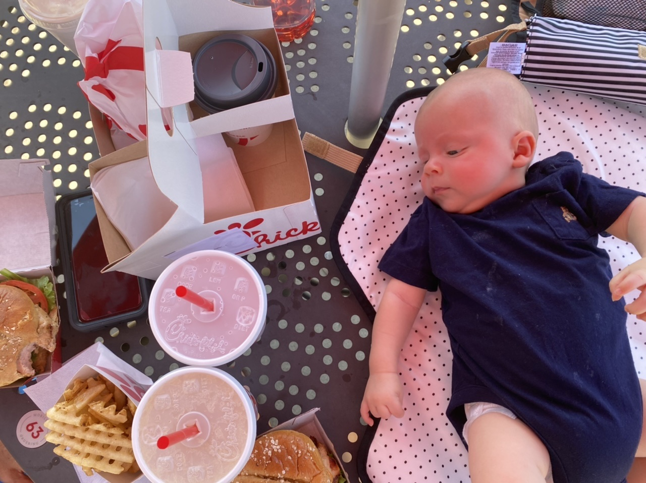 roadtrip pit stops at chick fil a with 9 week old baby